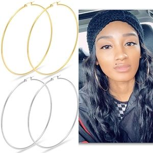 10k Gold Stainless Steel Hoop Earrings